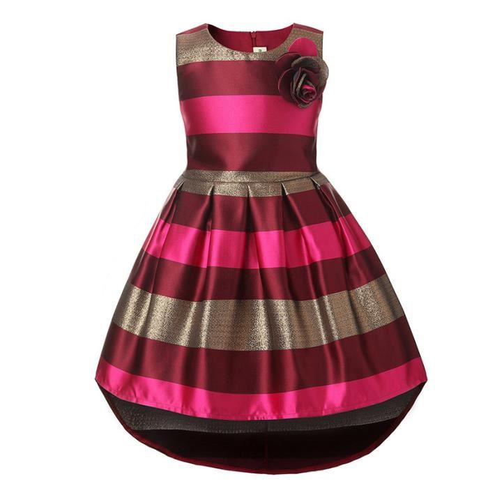 Robe Fille Raye Style Princesse Robe Enfant 4 12 Ans Red Fonce Achat Vente Robe Cdiscount