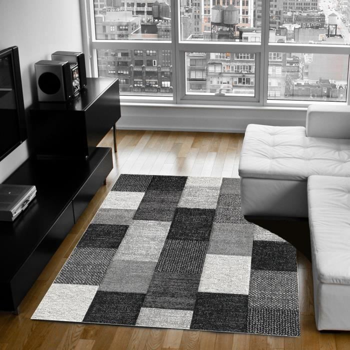 belis tapis 120x170 cm gris anthracite noir et blanc achat vente tapis 100 polypropyl ne. Black Bedroom Furniture Sets. Home Design Ideas