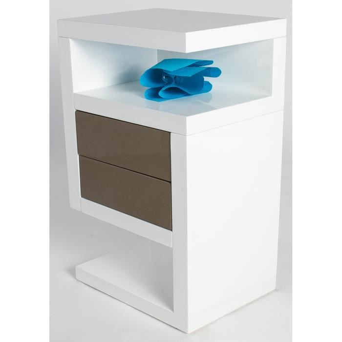 Table De Chevet Gerry Coloris Blanc Taupe Haut