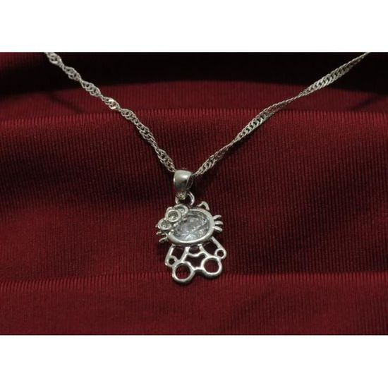 CHATON CHAT collier pendentif Argent Sterling 925 adorable HELLO KITTY