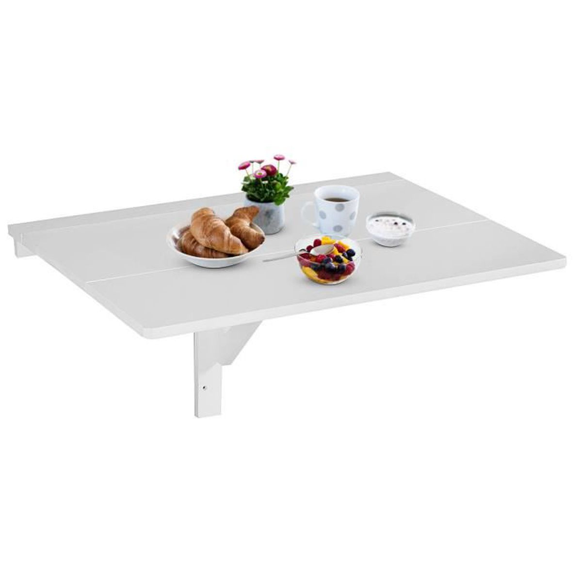 Table Murale Rabattable 80x60x43 Cm Bureau Mural Table De Cuisine Pliante Avec Support En Bois Pour Salle à Manger Chambre Salon
