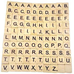 CONSOLE ÉDUCATIVE 100 tuiles de Scrabble en bois noir chiffres de le