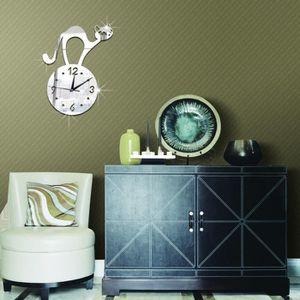JEU DE STICKERS GZ021 horloge miroir mural autocollant argent -676