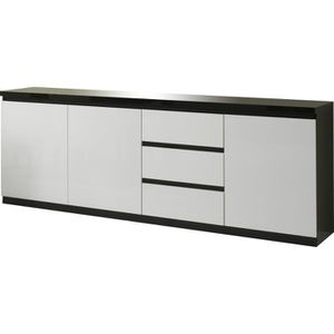 bahut noir et blanc laque achat vente bahut noir et. Black Bedroom Furniture Sets. Home Design Ideas
