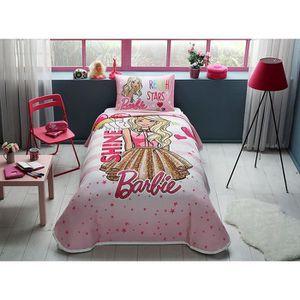 JETÉE DE LIT - BOUTIS 3 pièces Barbie Brillance licence Cartoons Couvre-