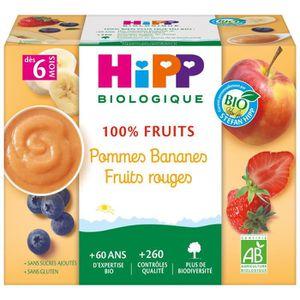 DESSERT FRUITS BÉBÉ HIPP BIOLOGIQUE 100% fruits Compote Pommes Bananes