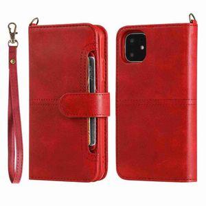 COQUE - BUMPER Coque iPhone 11,Rouge Exquis Couleur unie Cuir Pre