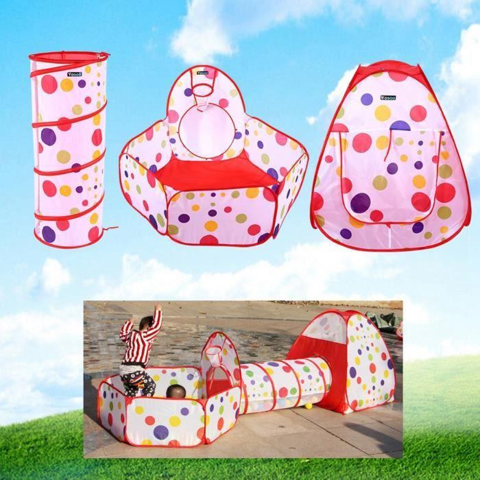 Tente Tunnel pour Enfant 3 en 1 Tente de Jeu Pliable Intérieur et Extérieur, Tent + Jeu Tunnel + Piscine à Balles, pour Bebe