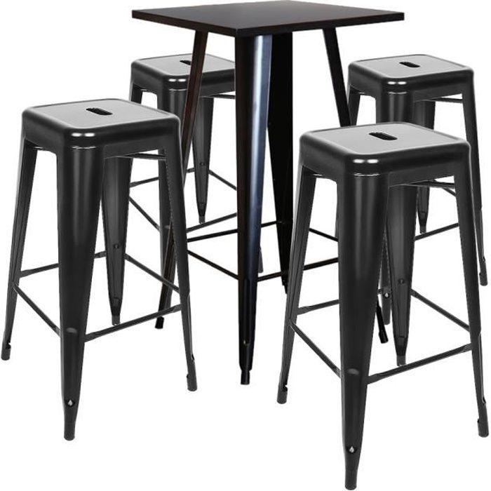Table de bar vintage Table Haute Plateau de Table en Bois Naturel + Repose- pieds confortable