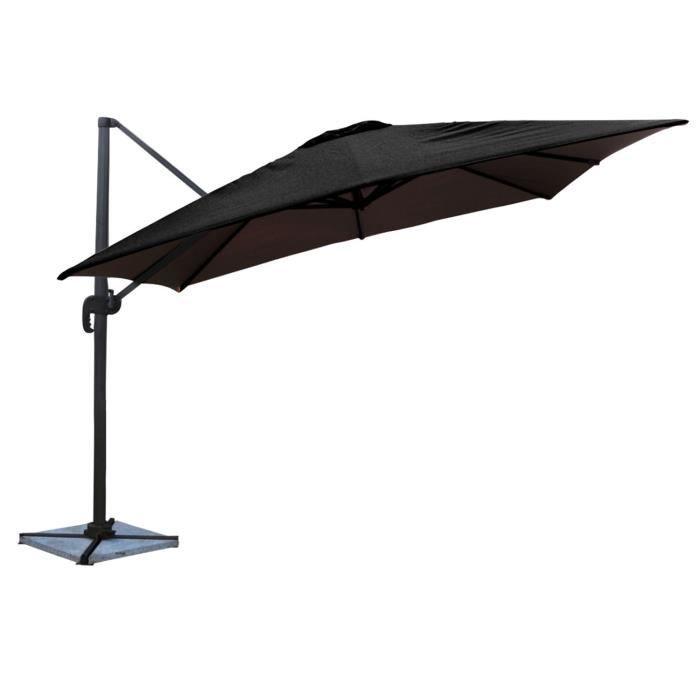 Parasol déporté MOLOKAI carré 3x3m inclinable rotatif noir