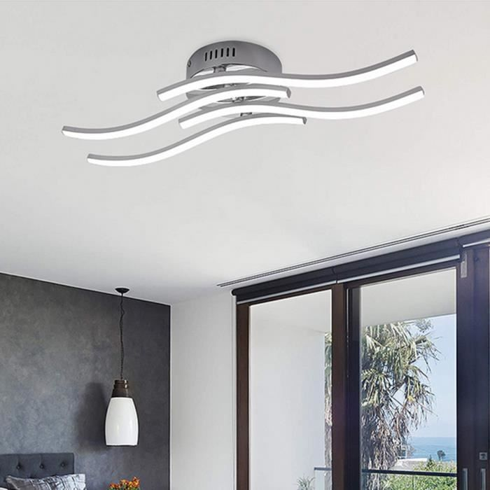 Plafonnier Led Moderne 24W Blanc chaud 4 LED Plafonnier Waved Lampes Suspendues Pour Chambre Salon Cuisine