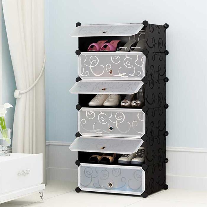 45*36*105cm Meuble à chaussures en plastique Armoire 6 Cubes Etagère de rangement Multi-usage