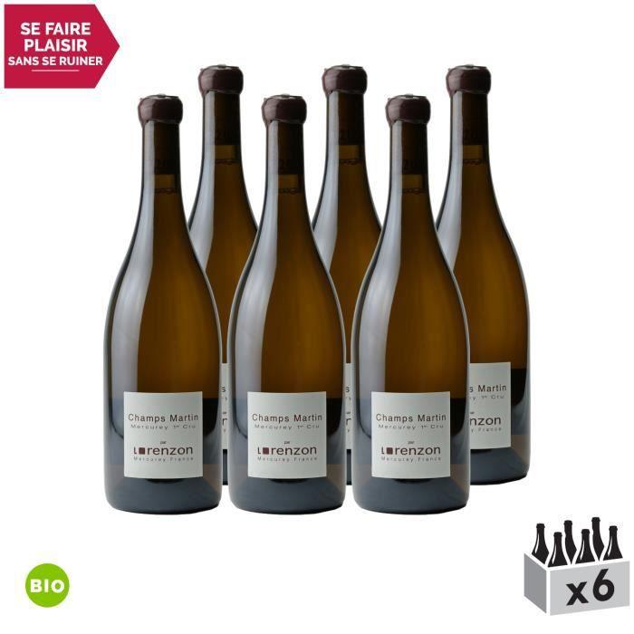 Mercurey 1er Cru Les Champs Martin Blanc 2014 - Bio - Lot de 6x75cl - Domaine Lorenzon - Vin AOC Blanc de Bourgogne - Cépage