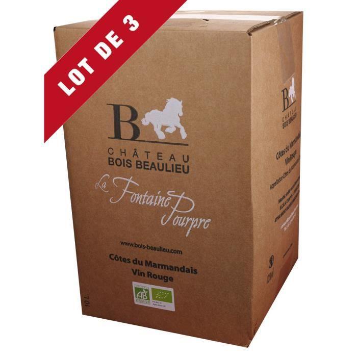 3X Bag-in-Box 10L Château Bois Beaulieu Rouge AOC Côtes du Marmandais - Vin Rouge