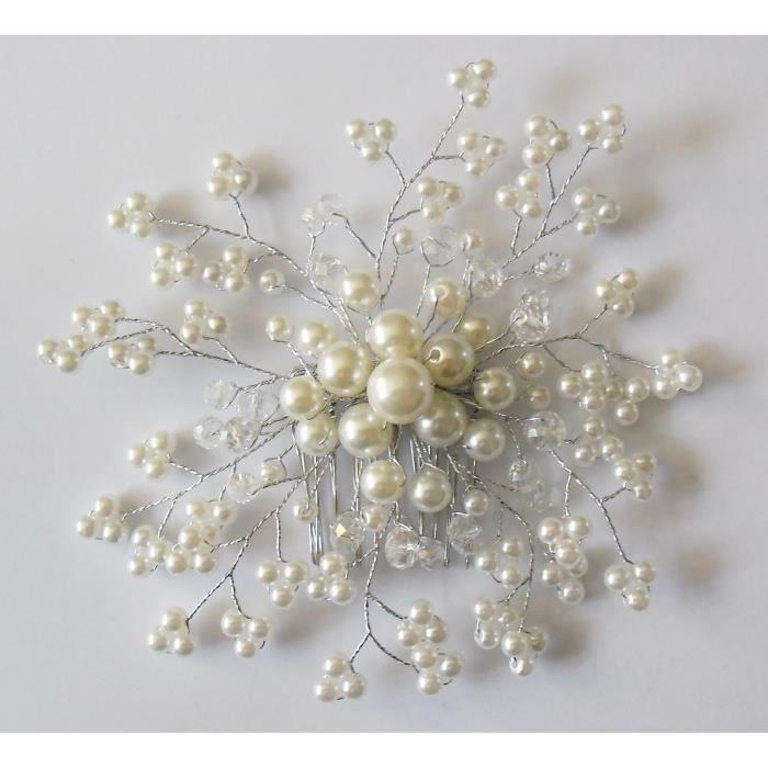 Peigne à chignon perles blanches