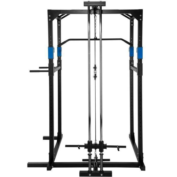 Cage de musculation rack de musculation station de fitness noir/bleu 0708067
