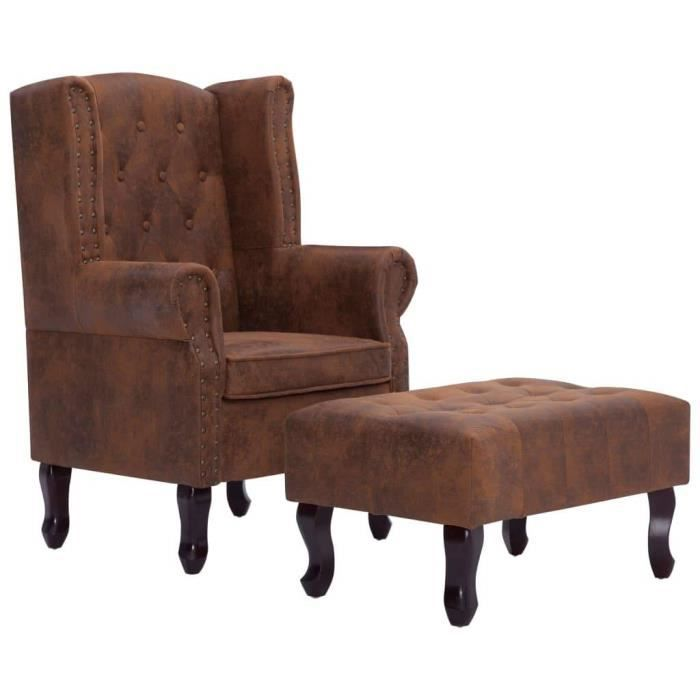 Fauteuil chaise siège lounge design club sofa salon chesterfield et repose-pieds marron similicuir daim 1102228/3