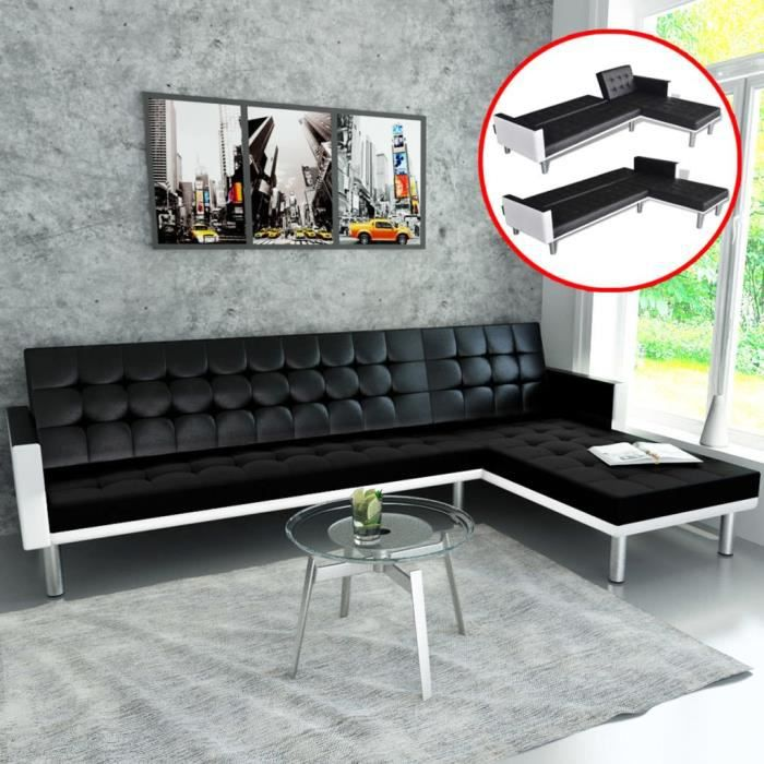 Canapé d'angle convertible réversible Canapé-lit d Canapé-lit d'angle Cuir synthétique Noir ♫7382