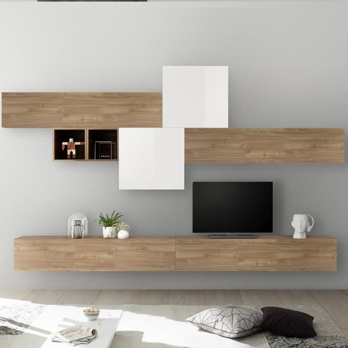 Ensemble TV blanc laqué et couleur chêne PULSANO Marron L 275 x P 300 x H 200 cm