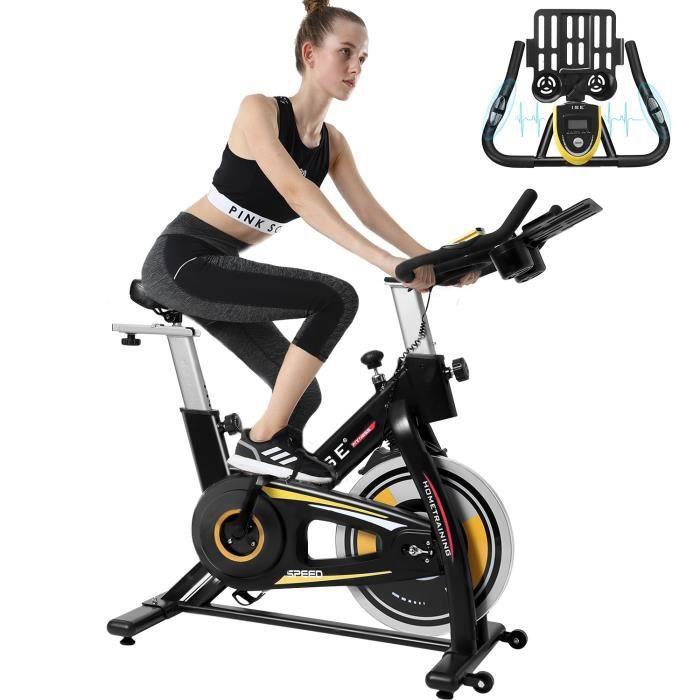 ISE Vélo D'appartement Spinning Bike avec Selle et poignée réglable ,Volant d'inertie de 6 kg SY-7909