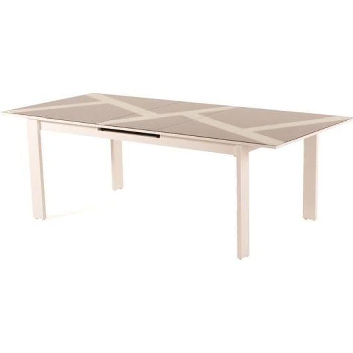 MENIK Table à manger à rallonge automatique en aluminium et verre pour 8-10 personnes.