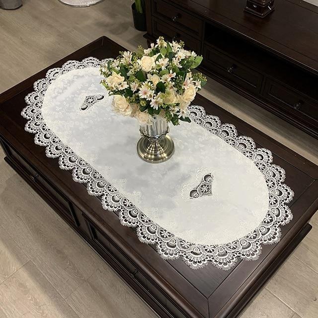 HM51W 60X120cm Oval -Nappe de Table ovale européenne, couverture de table à manger, fil de Polyester brodé, tissu fleuri, tapis de T