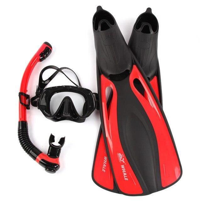 Masque de plongée,Masque de plongée de marque professionnelle de baleine, palmes de plongée, masque de plongée en - Type Red XS