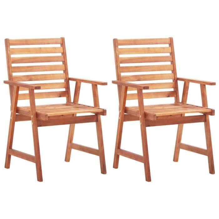 Lot de 2 Chaises de salle à manger - Chaise de jardin Fauteuil de Jardin Bois d'acacia massif Nouveau *455969