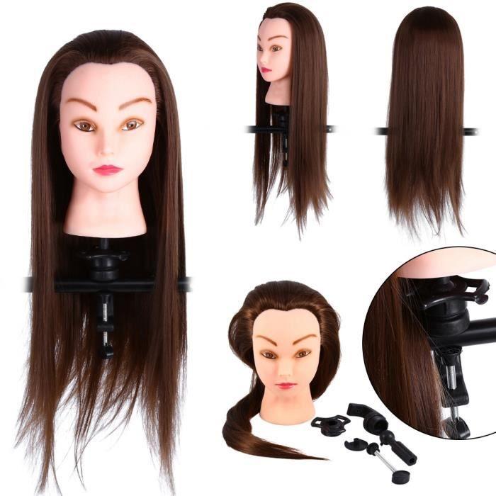 61cm Professionnelle Tête d'apprentissage à coiffer Cheveux humains réel+Support pour Dummy Tête -PAI