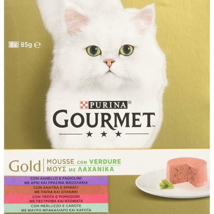 Gourmet 12329163 - COMMUTATEUR KVM - Gold Mousse pour Le Chat, avec légumes avec Agneau, Canard, Truite, cabillaud, 8 x 85 g ? Lot
