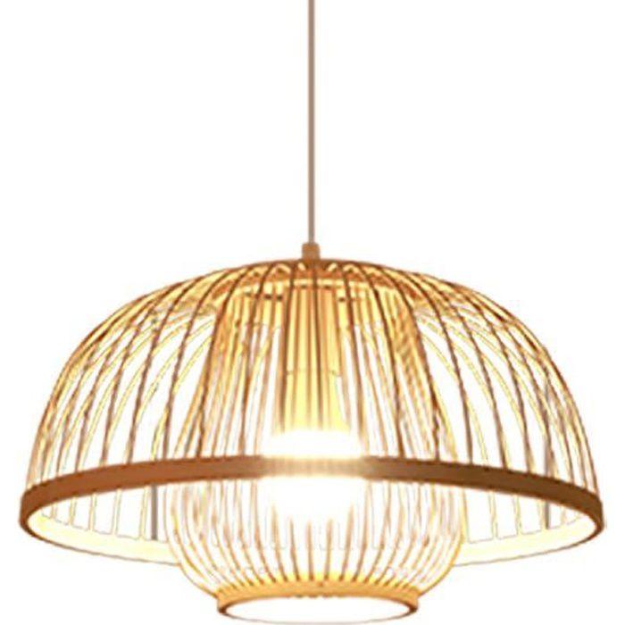 Lampe à en bambou, style japonais rétro E27 luminaire suspendu au plafond pour restaurant café salon de thé bar salle B 40x23CM