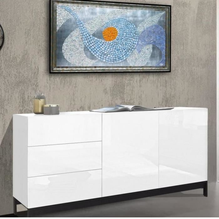 Buffet design METIS 170 cm Finition blanc laqué brillant 3 tiroirs 2 étageres blanc Inside75