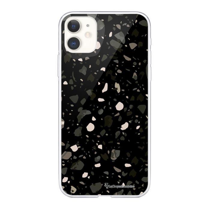 Coque iPhone 11 360 intégrale transparente Terrazzo Noir Ecriture Tendance Design La Coque Francaise