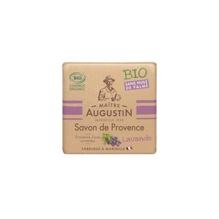 Le savon de Provence Bio Lavande MAITRE AUGUSTIN nettoie votre peau tout en douceur.