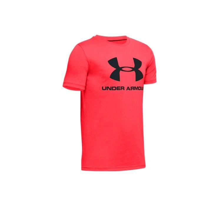 Under Armour Sportstyle Logo Short Sleeve Jr 1330893-628, Enfant, rouge, t-shirt