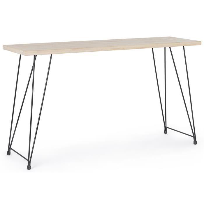 Console - Table d'entrée en acier et bois , naturel - L.140 x P.39 x H.79 cm