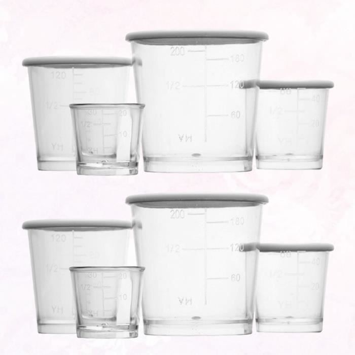 2 ensembles / 8 pièces épaississent des tasses à mesurer en récipient TASSE A BEC - GOBELET - VERRE D'APPRENTISSAGE