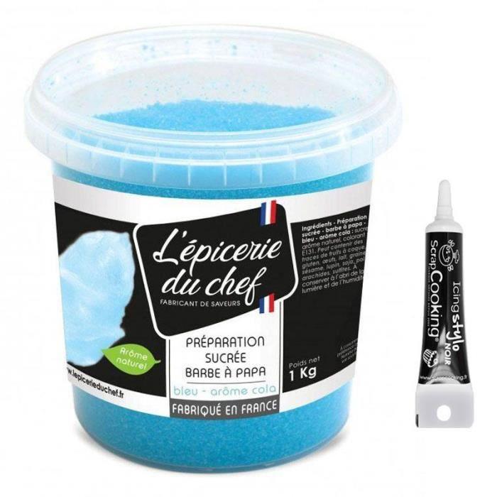 Sucre barbe à papa bleu 1 kg + Stylo glaçage noir
