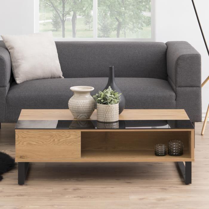 Table basse /Table de salon - KOSTRENA - 110x60 cm - chêne / noir - style contemporain - plateau relevable - élément en verre tre...