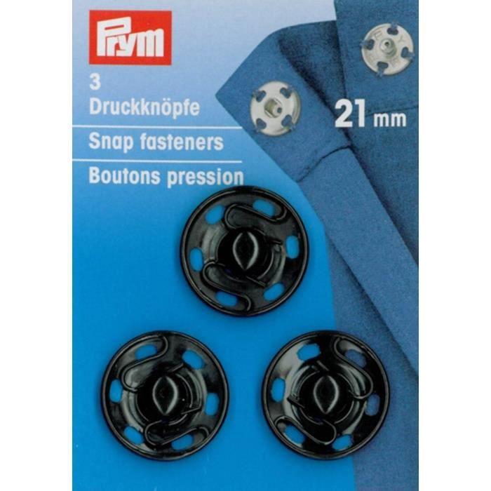 Boutons pression à coudre 21 mm noirs - Prym
