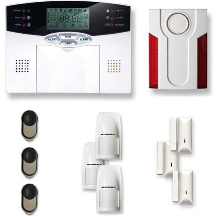Alarme maison sans fil 3 à 4 pièces MN mouvement + intrusion + sirène extérieure - Compatible Box Internet