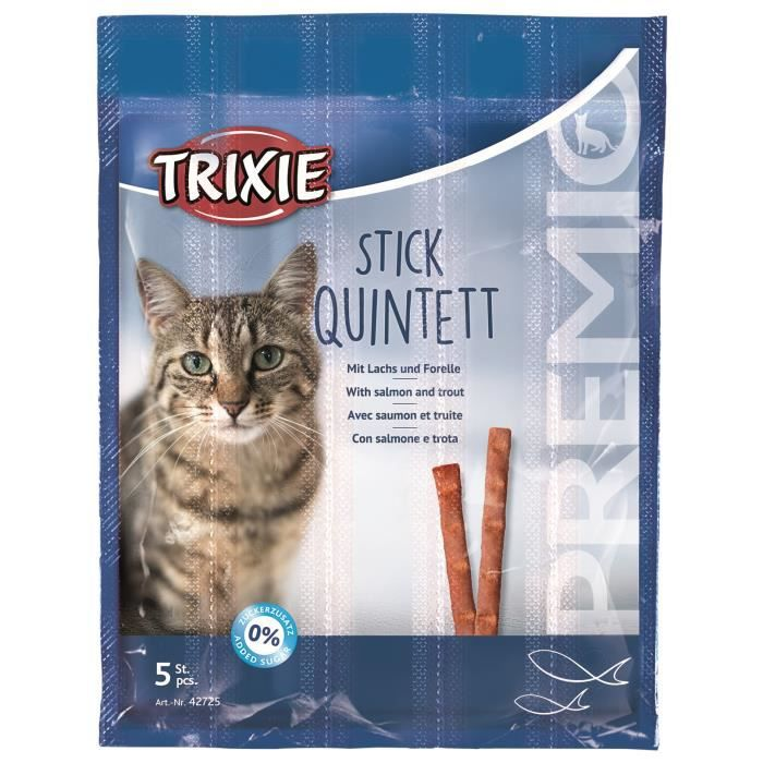 TRIXIE PREMIO Quadro-Sticks saumon/truite 5 × 5 g pour chat
