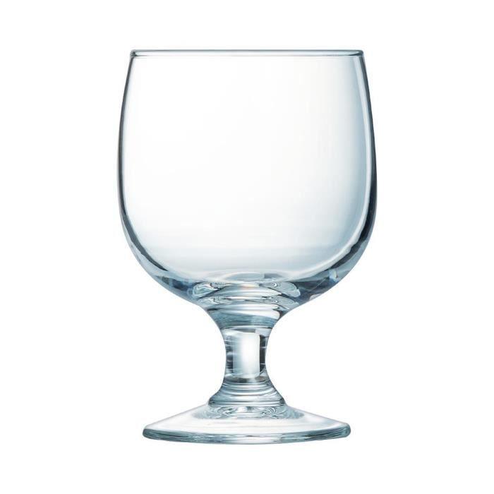 Lot de 12 verres à pied pour Eau en verre trempé - 25 cl