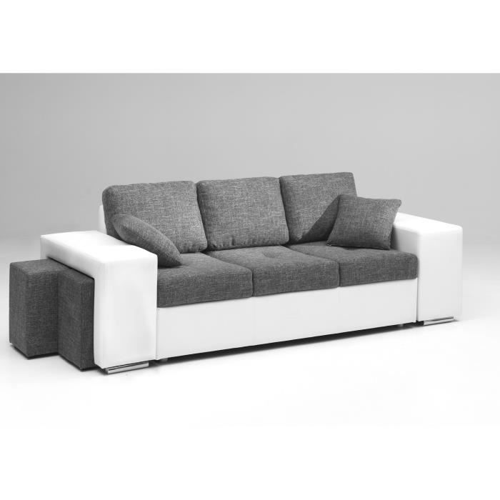 mila canap fixe 3 places bi mati re gris blanc achat vente canap sofa divan cdiscount. Black Bedroom Furniture Sets. Home Design Ideas