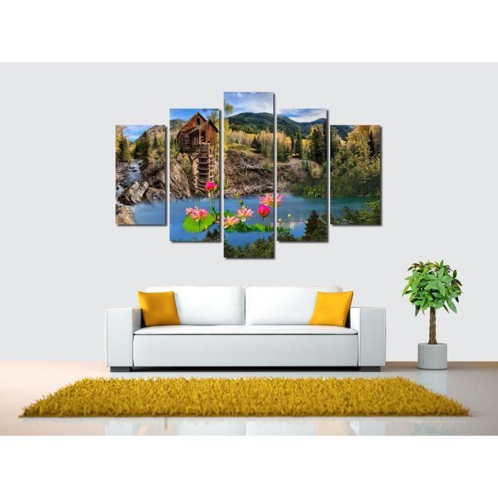 5 Pcs Lotus Canvas Dessin Dessin Peinture De Paysage Sur Le