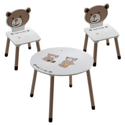 Set de 1 table 2 chaises enfant coloris chocolat beige achat vente table et chaise for Table avec chaise enfant