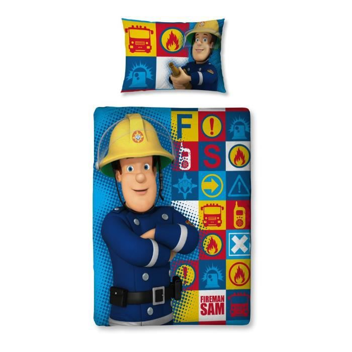 parure de lit junior fireman sam le pompier achat. Black Bedroom Furniture Sets. Home Design Ideas