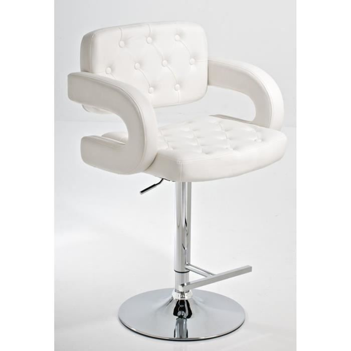 tabouret de bar dublin en simili cuir blanc di achat. Black Bedroom Furniture Sets. Home Design Ideas