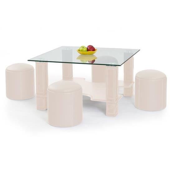 Table basse verre rigue beige achat vente table for Table basse laquee beige