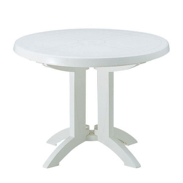 Table ronde de jardin vega grosfillex blanc achat for Table de jardin ronde plastique blanc